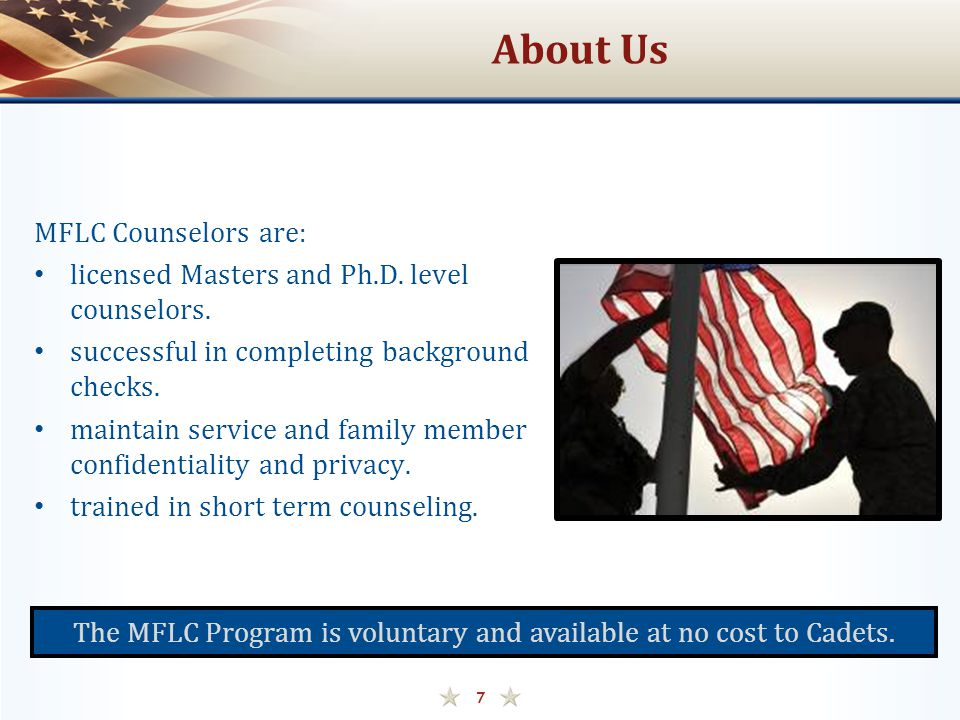 The MFLC Program is voluntary and available at no cost to Cadets.