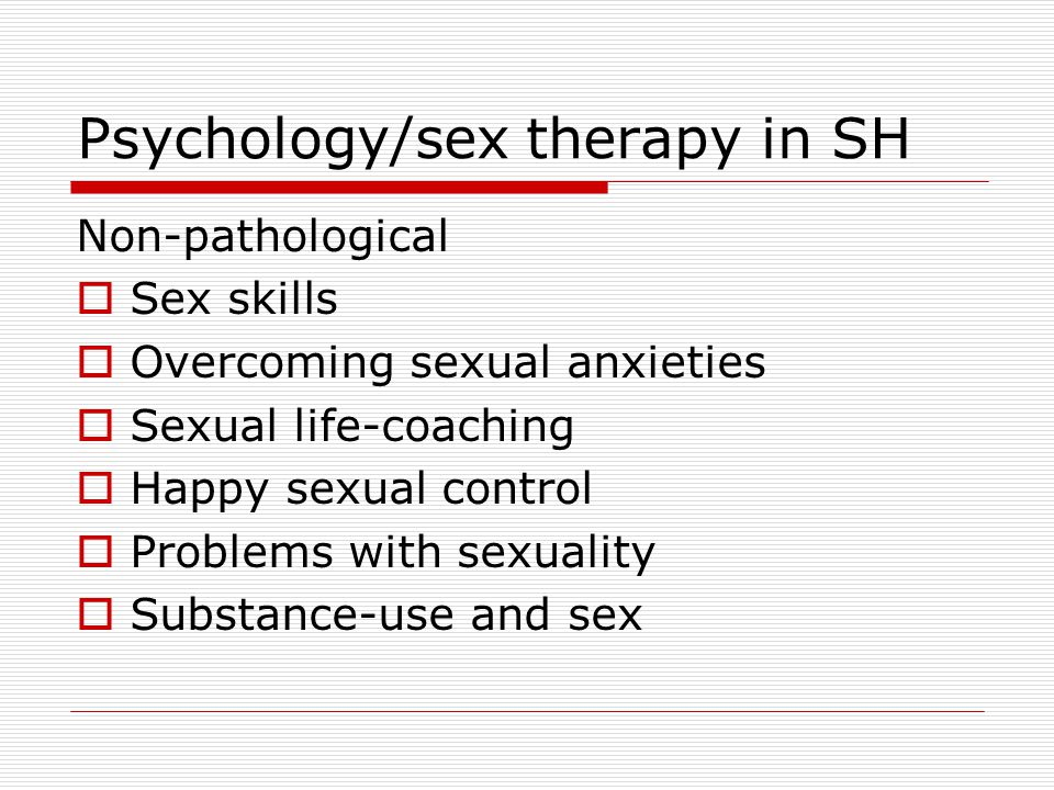 Psychology/sex therapy in SH