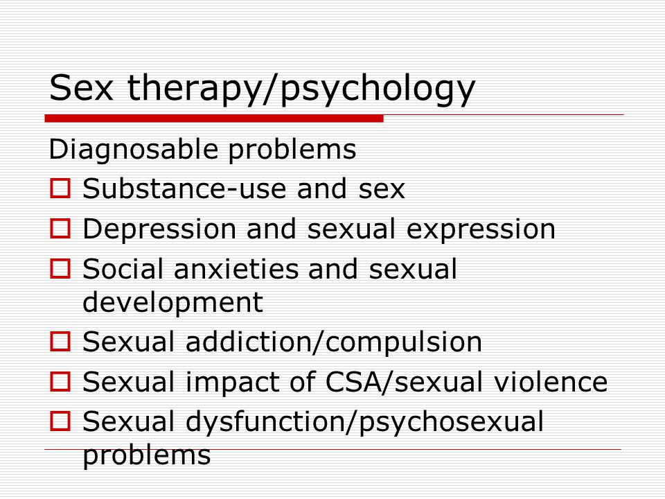 Sex therapy/psychology