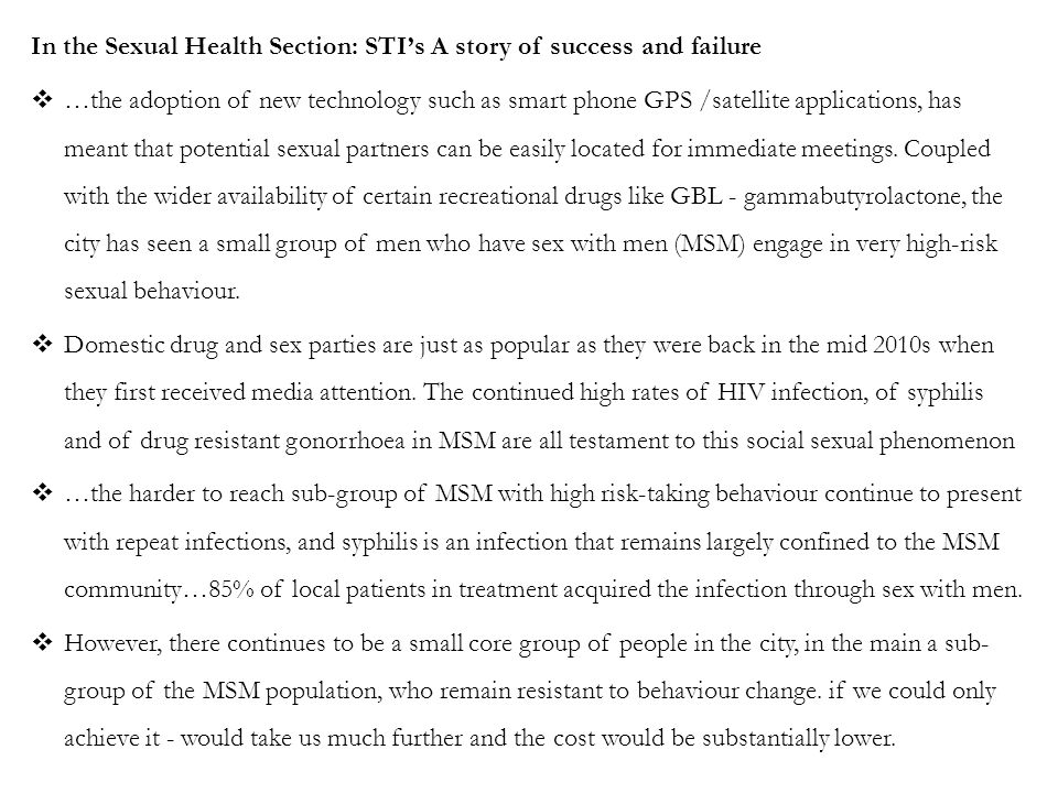 In the Sexual Health Section: STI's A story of success and failure