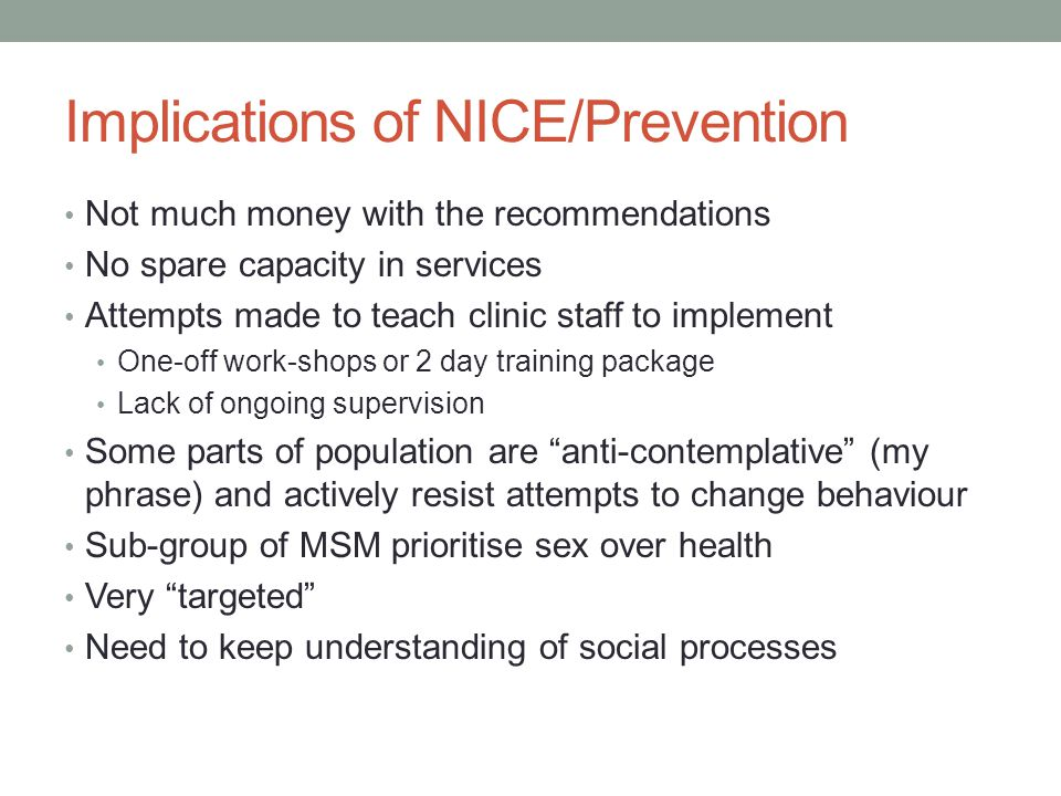 Implications of NICE/Prevention