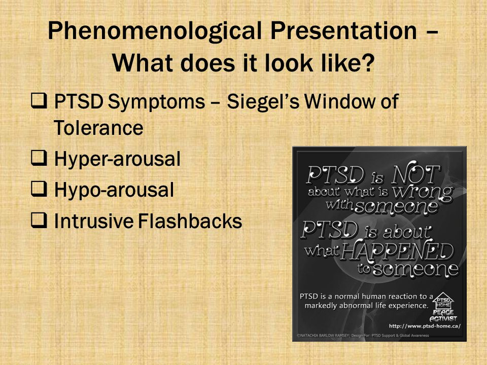 Phenomenological Presentation – What does it look like