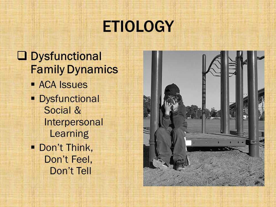 ETIOLOGY Dysfunctional Family Dynamics ACA Issues