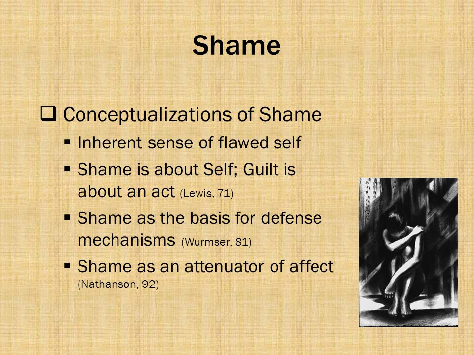 Shame Conceptualizations of Shame Inherent sense of flawed self