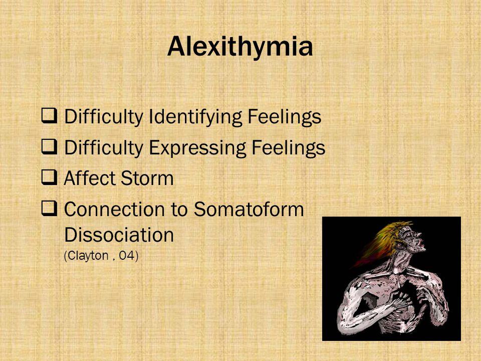 Alexithymia Difficulty Identifying Feelings
