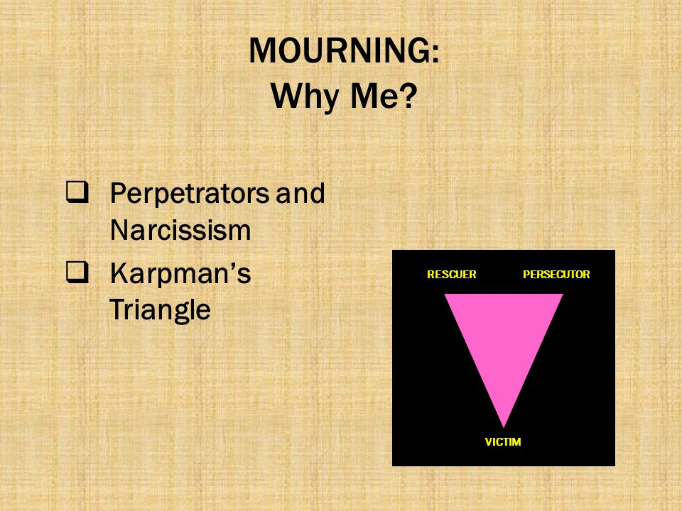 MOURNING: Why Me Perpetrators and Narcissism Karpman's Triangle