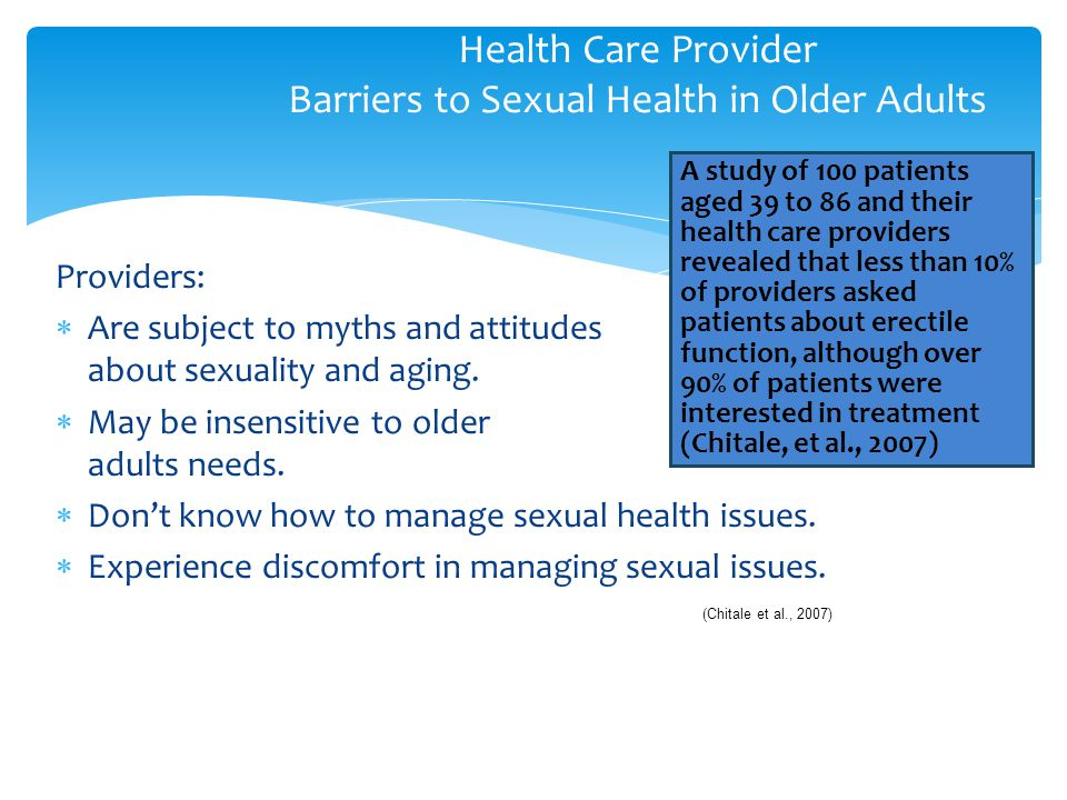 Health Care Provider Barriers to Sexual Health in Older Adults