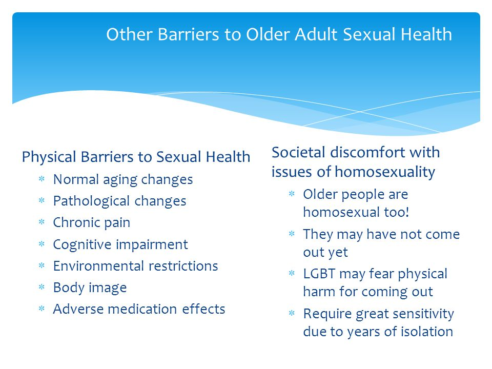 Other Barriers to Older Adult Sexual Health