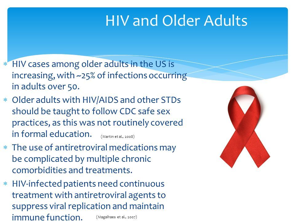 HIV and Older Adults HIV cases among older adults in the US is increasing, with ~25% of infections occurring in adults over 50.