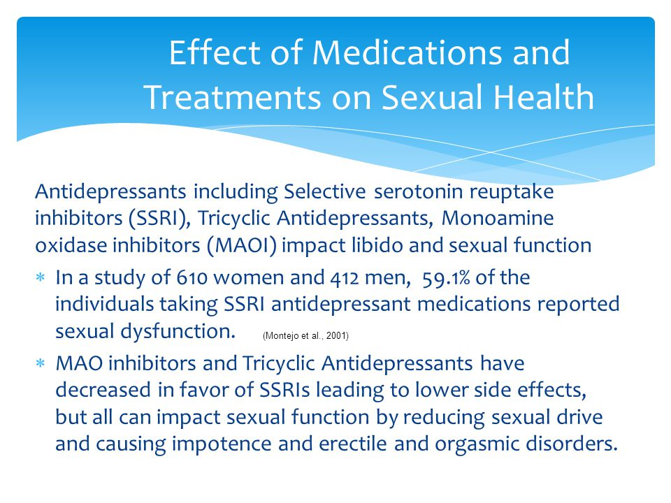 Effect of Medications and Treatments on Sexual Health