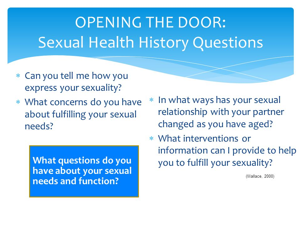 OPENING THE DOOR: Sexual Health History Questions