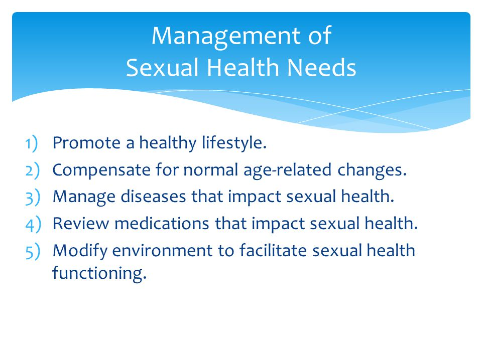 Management of Sexual Health Needs