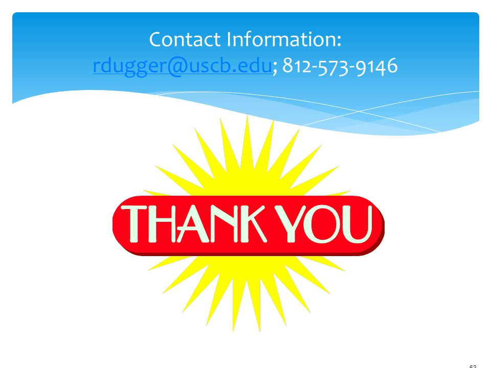 Contact Information: rdugger@uscb.edu; 812-573-9146 12/18/2006 9:45am.