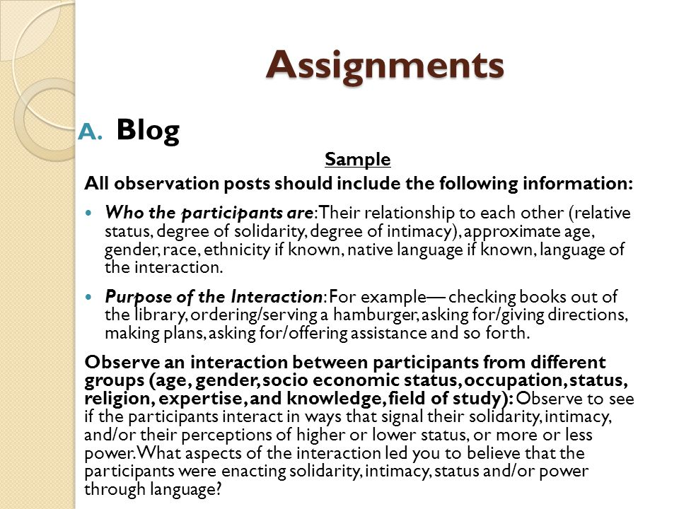 Assignments Blog Sample