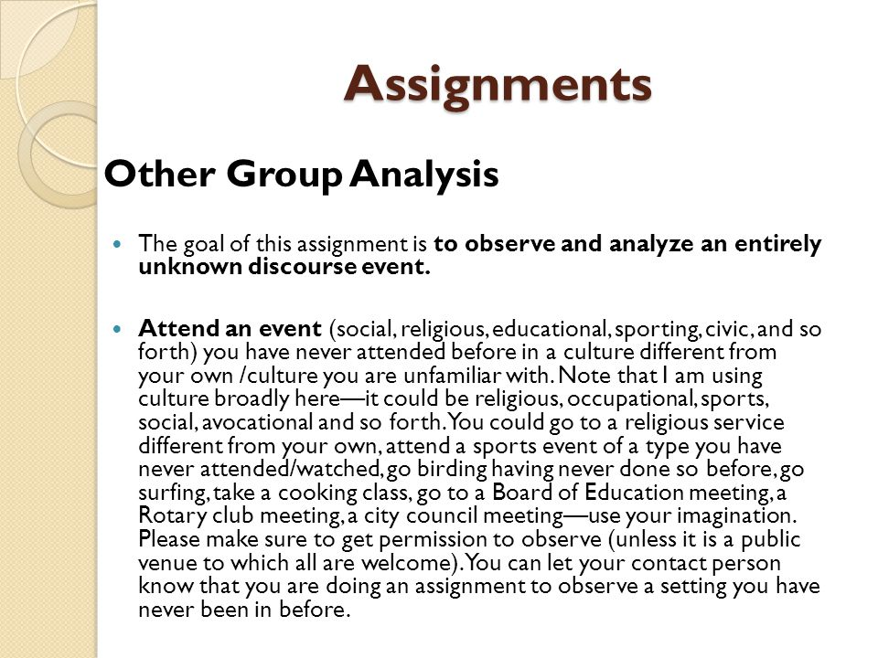 Assignments Other Group Analysis