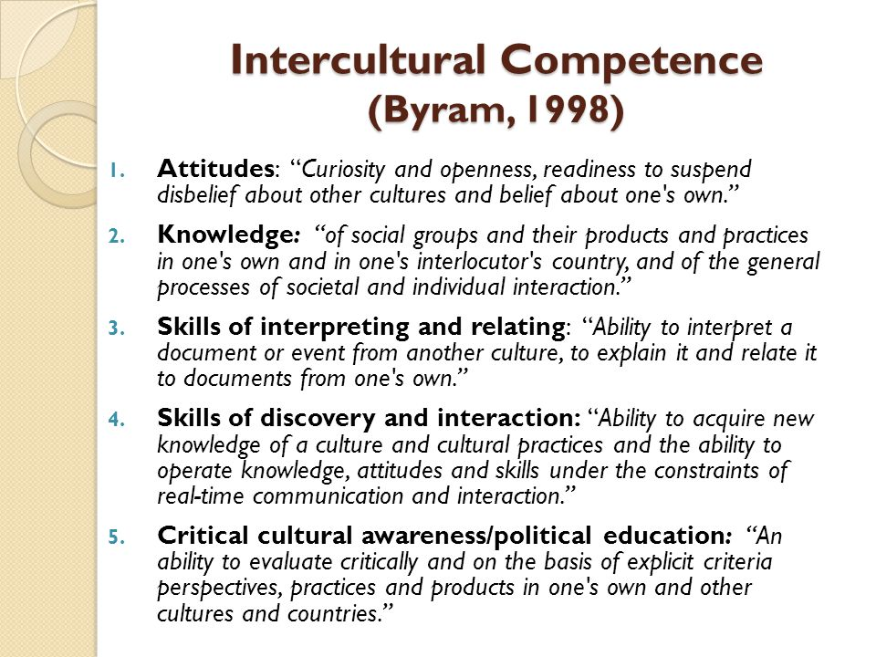 Intercultural Competence (Byram, 1998)
