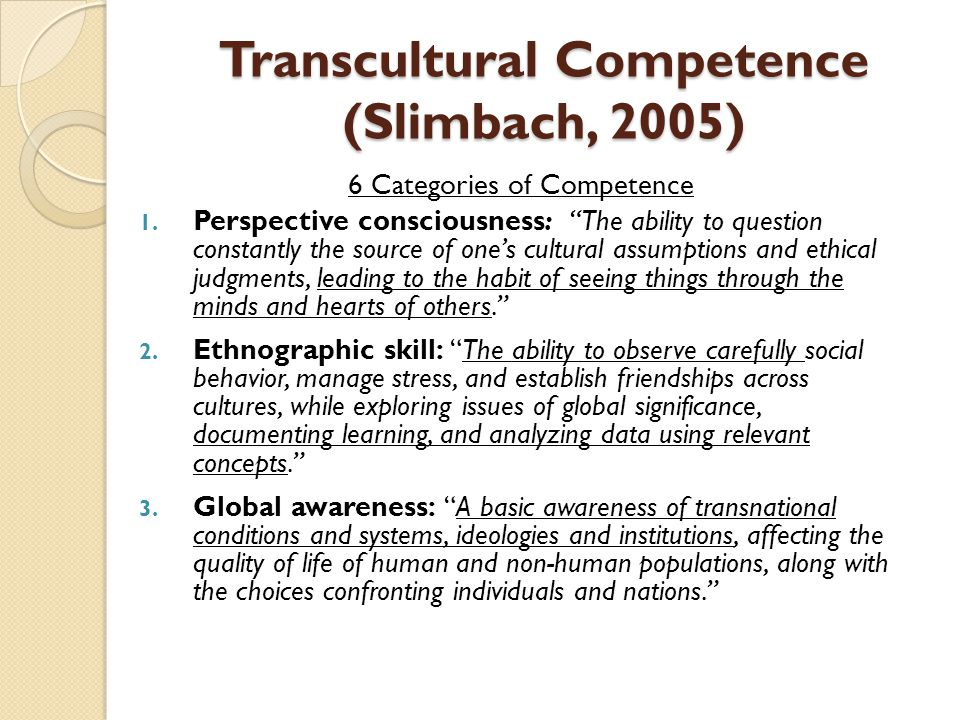 Transcultural Competence (Slimbach, 2005)