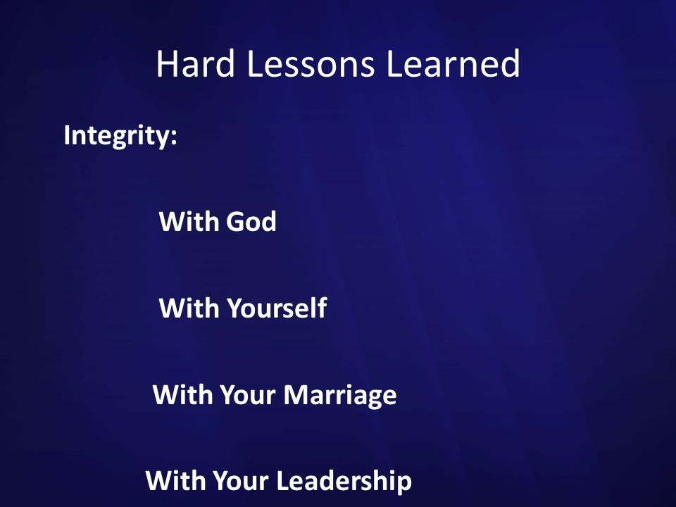 Hard Lessons Learned Integrity: With God With Yourself