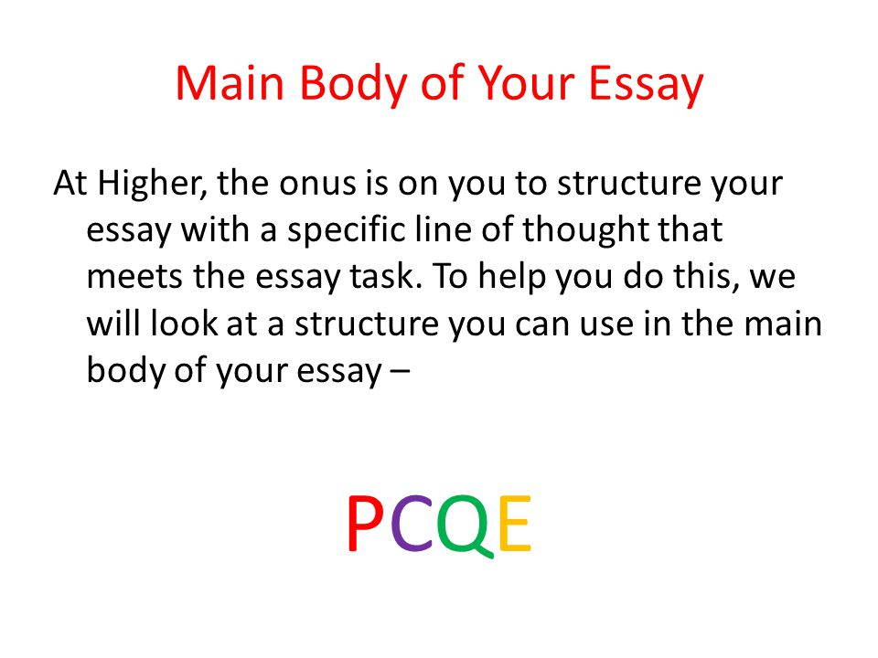 main body essay structure Structure and organization are integral components of an effective persuasive essay no matter how intelligent the ideas, a paper lacking a strong introduction, well-organized body.