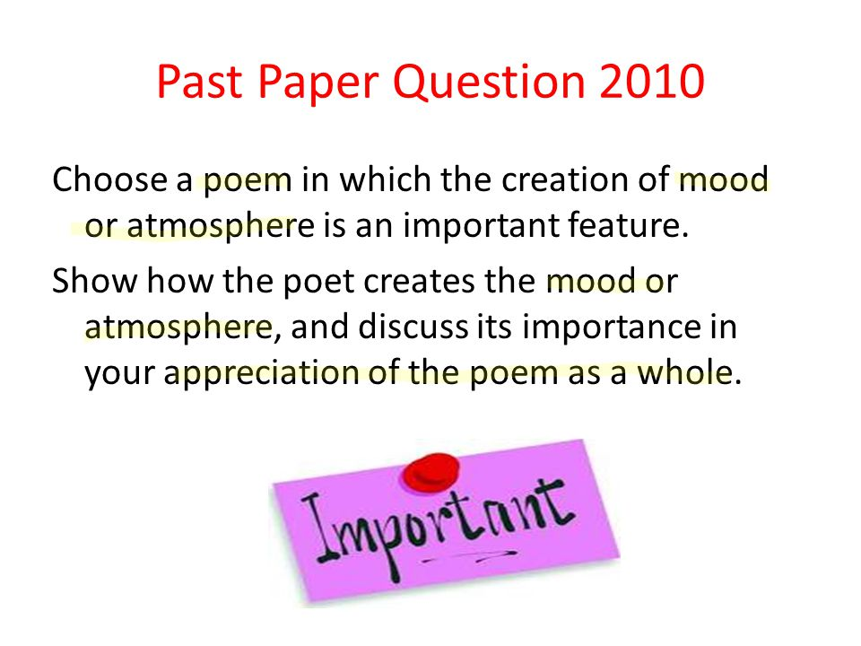 Past Paper Question 2010