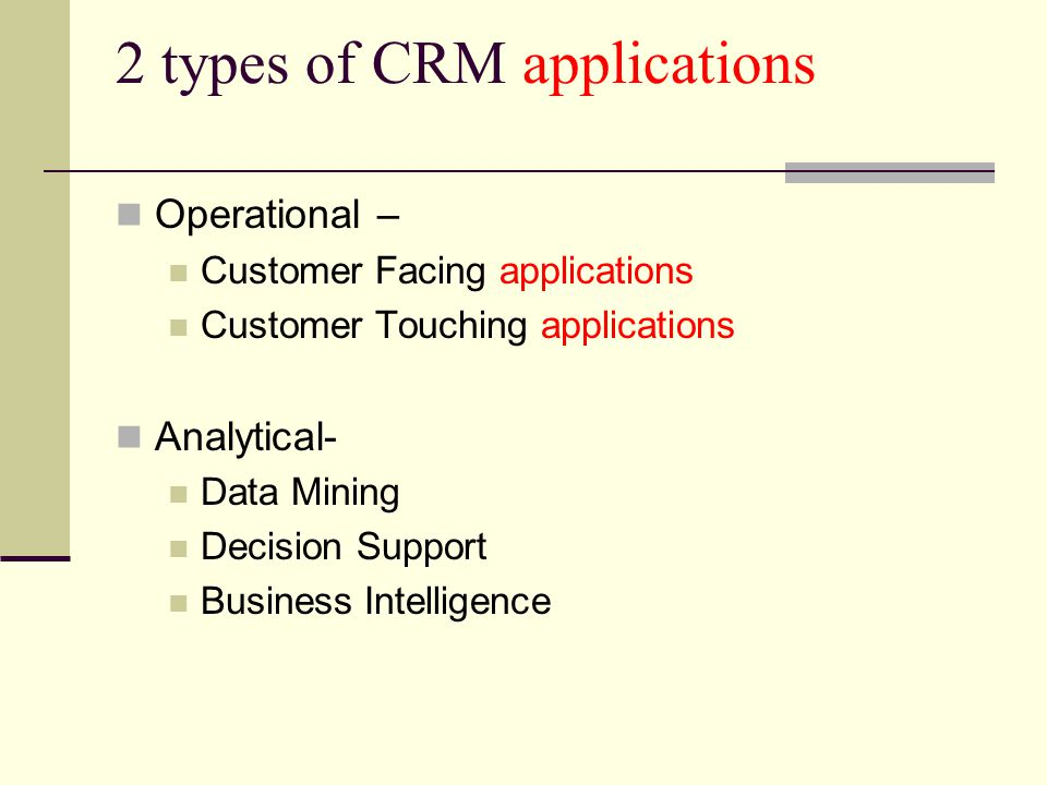 2 types of CRM applications