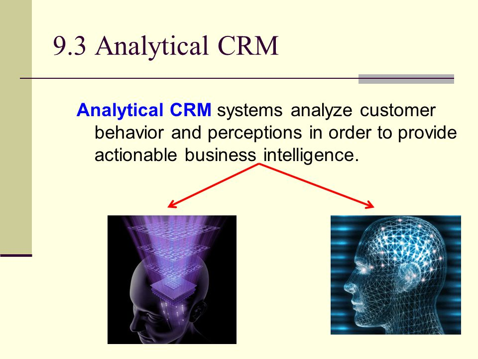 9.3 Analytical CRM Analytical CRM systems analyze customer behavior and perceptions in order to provide actionable business intelligence.