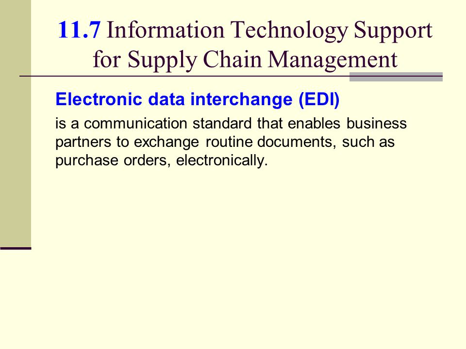 11.7 Information Technology Support for Supply Chain Management