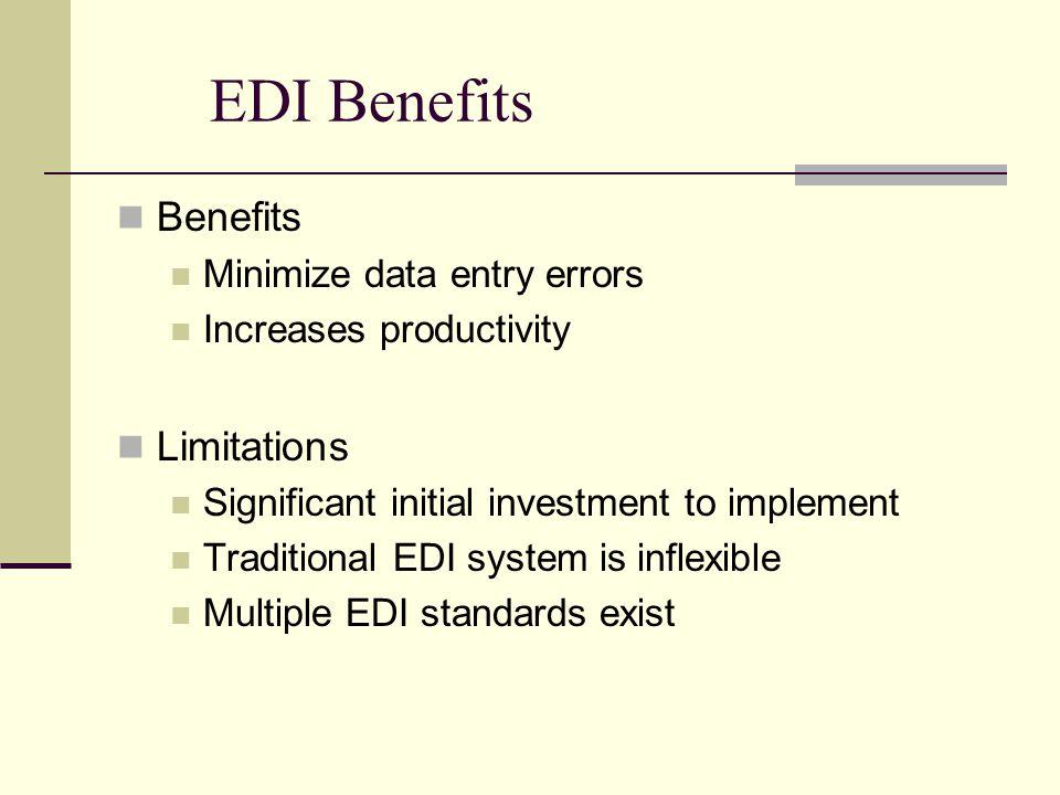 EDI Benefits Benefits Limitations Minimize data entry errors