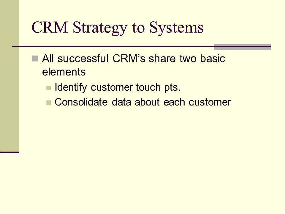 CRM Strategy to Systems