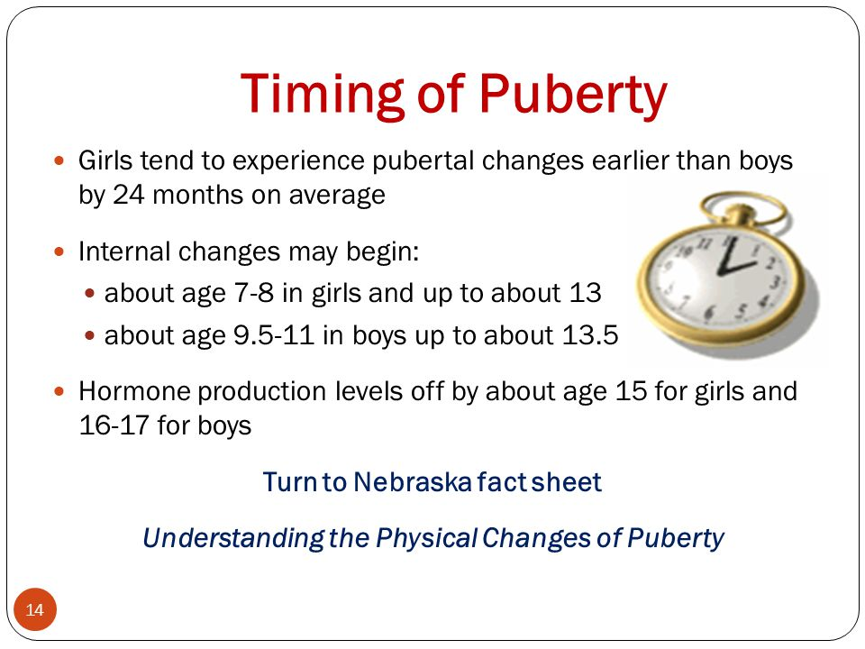 Timing of Puberty Girls tend to experience pubertal changes earlier than boys by 24 months on average.