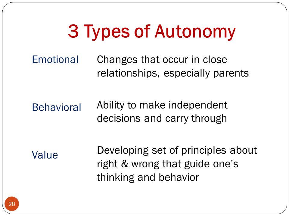3 Types of Autonomy Emotional Behavioral Value