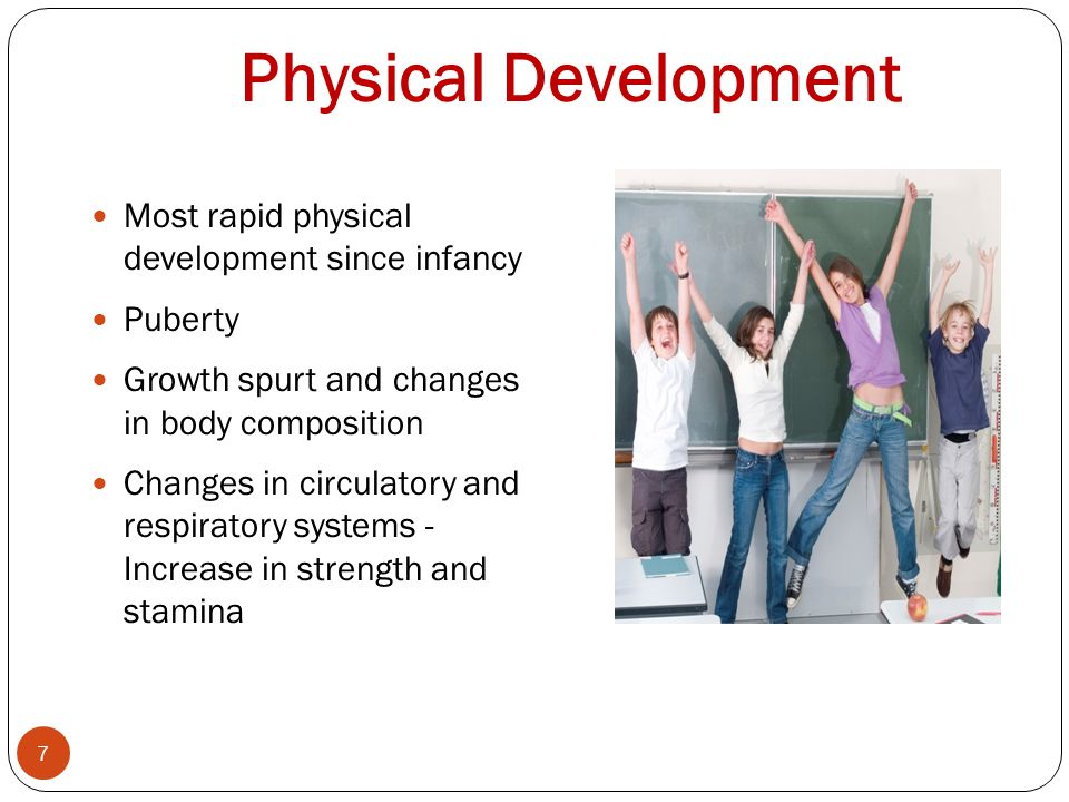 Physical Development Most rapid physical development since infancy