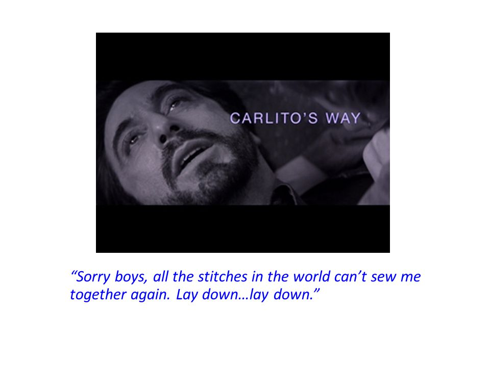Carlito didn't escape the streets, but his child will as Gail escapes with the 75,000 and will raise her child far away from the crime world.