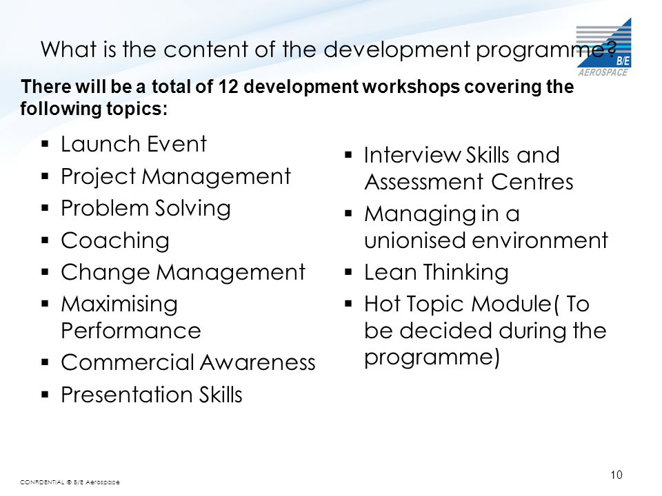 What is the content of the development programme