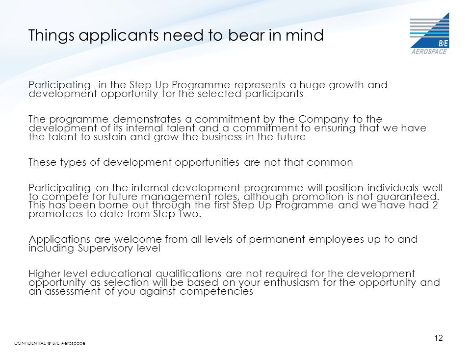 Things applicants need to bear in mind