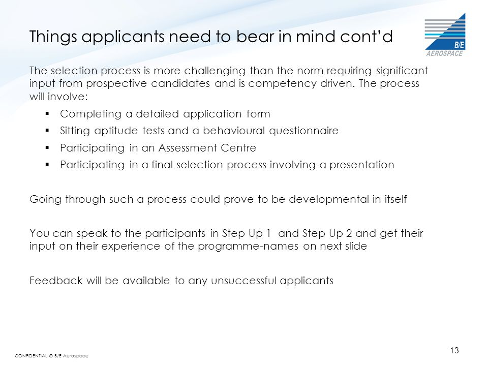 Things applicants need to bear in mind cont'd