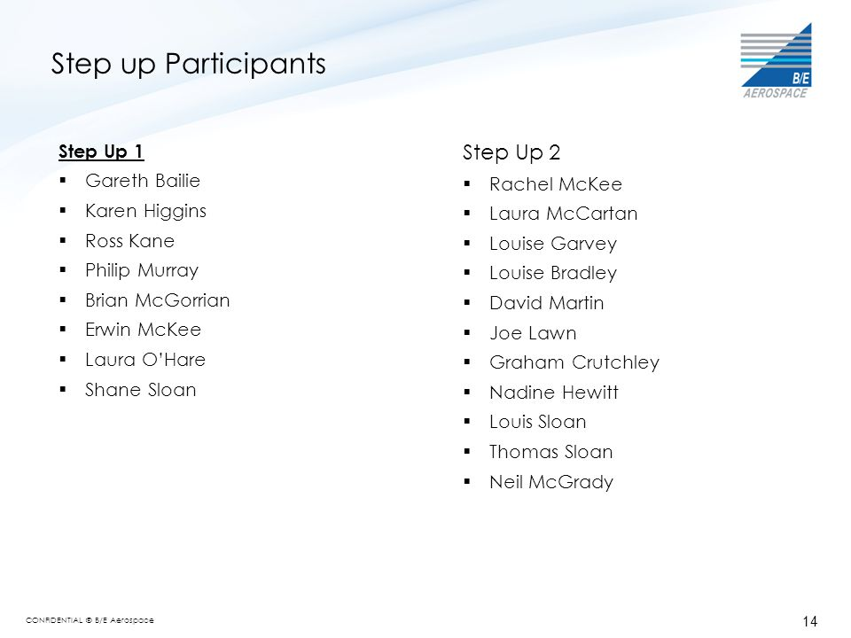 Step up Participants Step Up 2 Step Up 1 Gareth Bailie Rachel McKee
