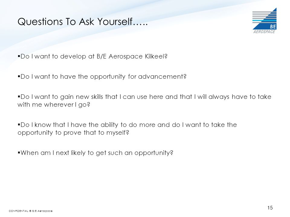 Questions To Ask Yourself…..