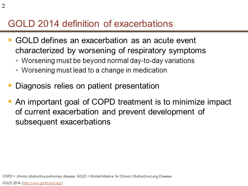 GOLD 2014 definition of exacerbations