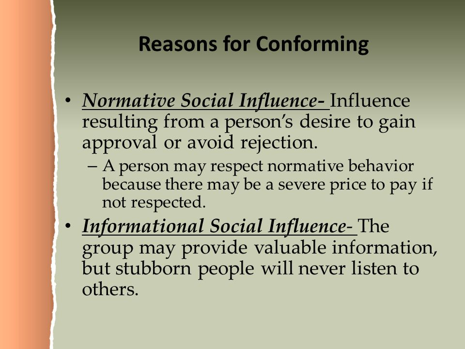 Reasons for Conforming