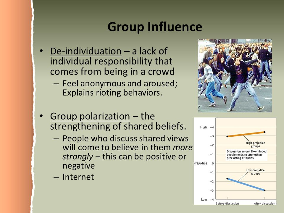 Group Influence De-individuation – a lack of individual responsibility that comes from being in a crowd.