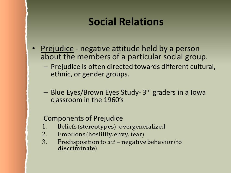 Social Relations Prejudice - negative attitude held by a person about the members of a particular social group.