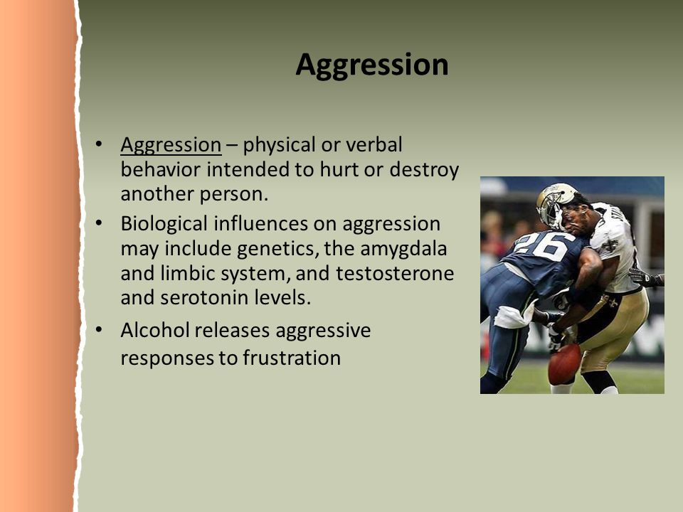 Aggression Aggression – physical or verbal behavior intended to hurt or destroy another person.