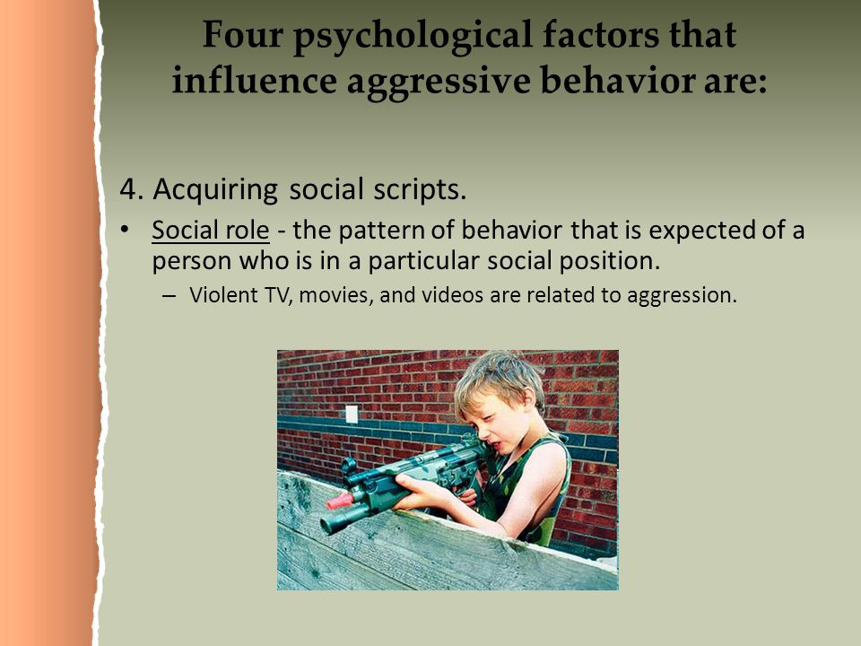 Four psychological factors that influence aggressive behavior are: