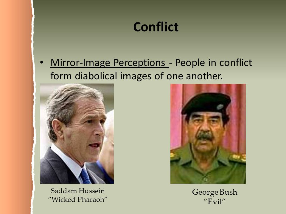 Conflict Mirror-Image Perceptions - People in conflict form diabolical images of one another. Saddam Hussein.