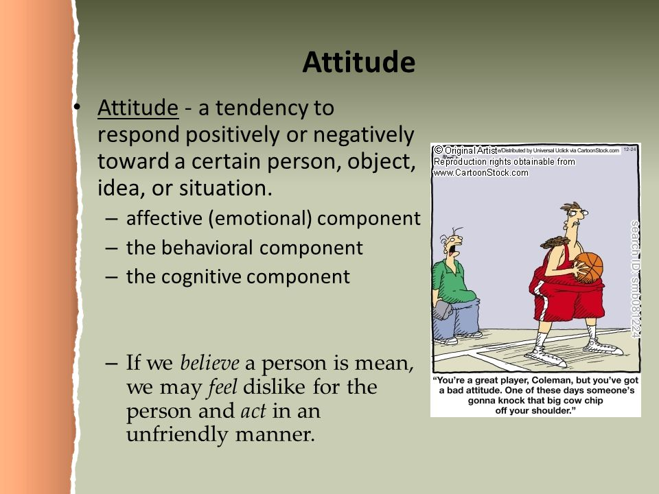 Attitude Attitude - a tendency to respond positively or negatively toward a certain person, object, idea, or situation.