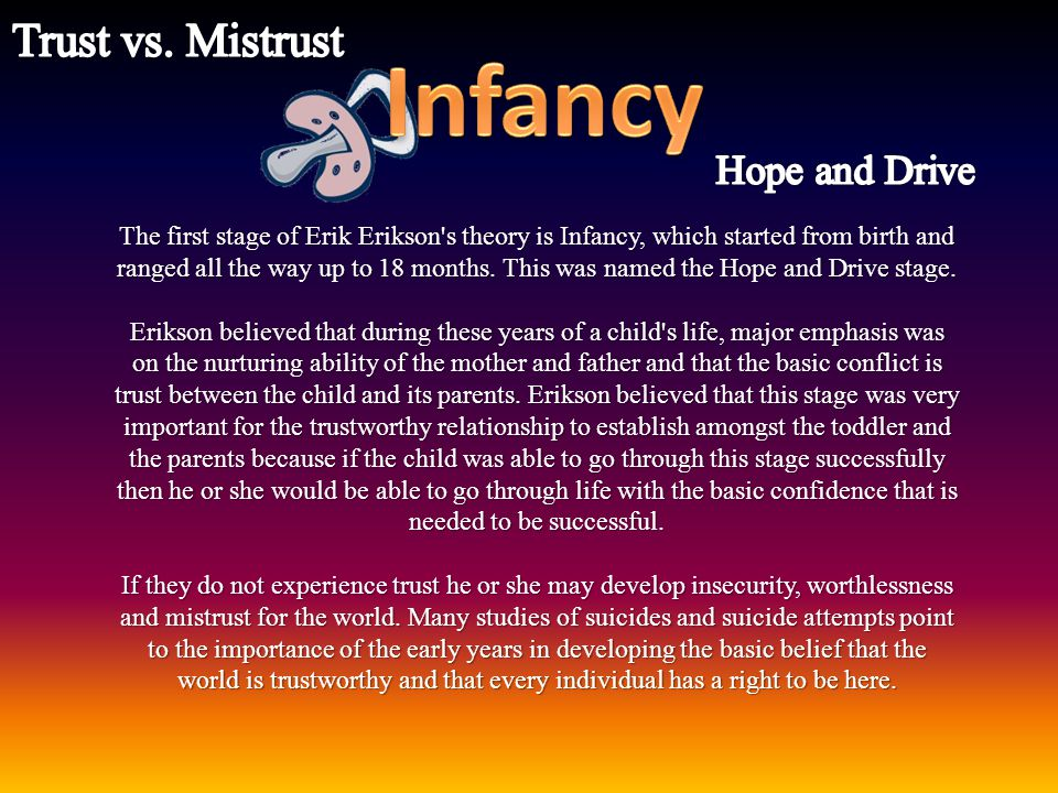 Infancy Trust vs. Mistrust Hope and Drive