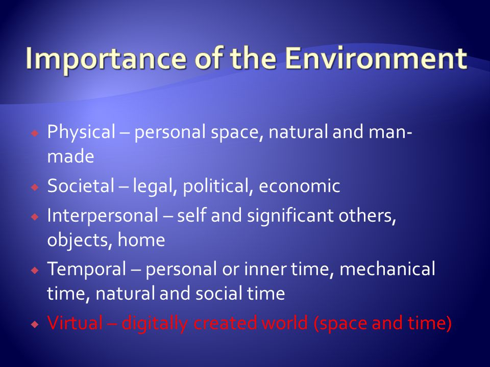 Importance of the Environment