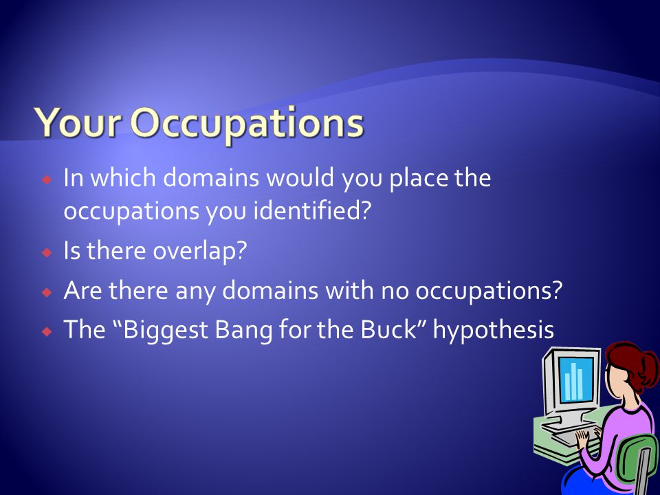 Your Occupations In which domains would you place the occupations you identified Is there overlap