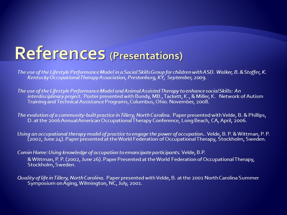 References (Presentations)